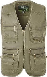 KTWOLEN Mens Gilet Waistcoat Safari Multi Pocket Fishing Hunting Hiking Vest Waistcoat Jacket Breathable Photography Top