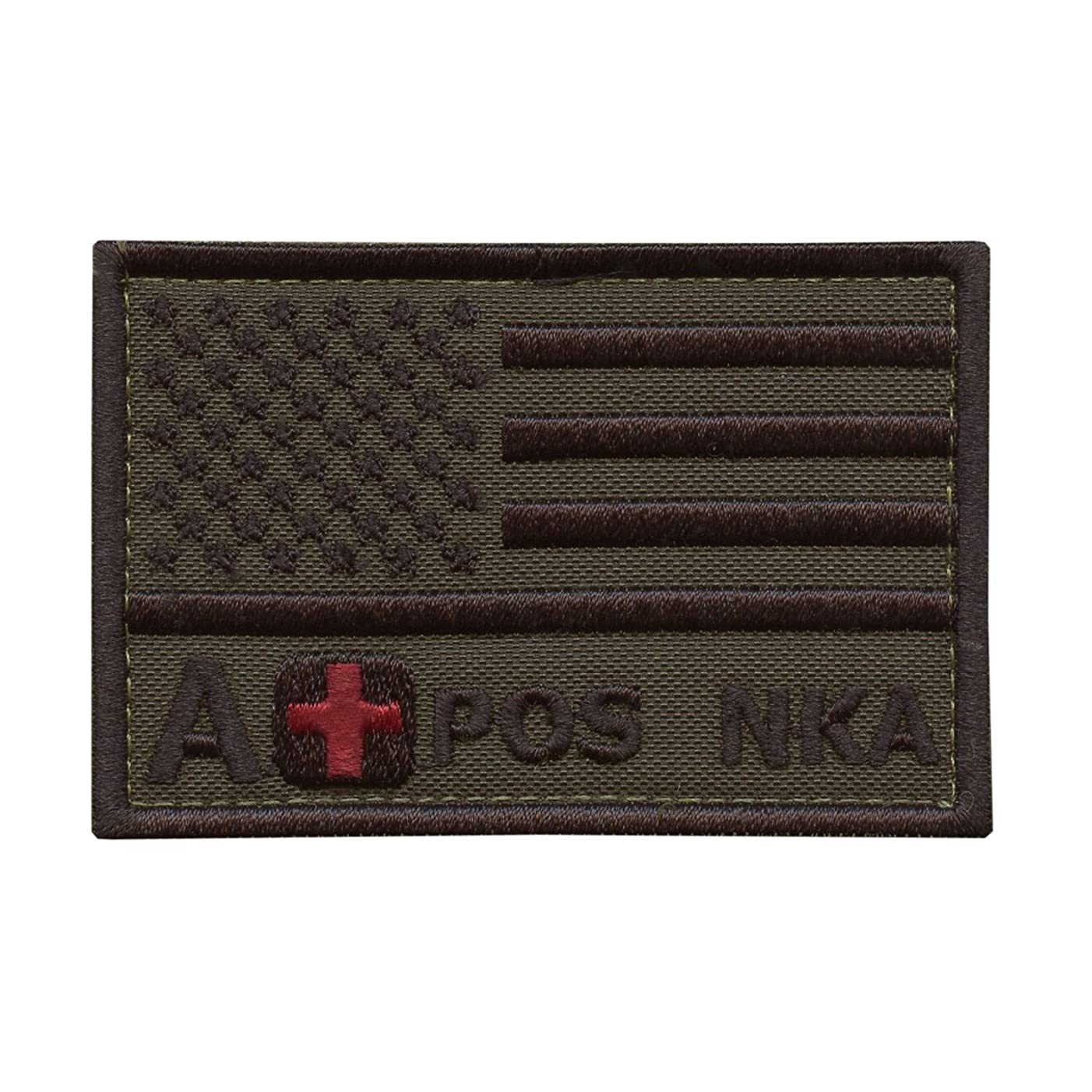 LEGEEON A POS A+ NKA Blood Type Olive Drab Green USA Flag Embroidered Fastener Patch
