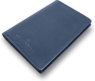 BLACKROX Tarjetero de piel auténtica, con bloqueo RFID, para hombre y mujer, pequeño monedero, blindado, hasta 12 tarjetas