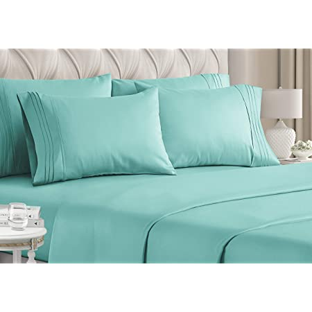 Amazon Com California King Size Sheet Set 6 Piece Set Hotel Luxury Bed Sheets Extra Soft Deep Pockets Easy Fit Breathable Cooling Wrinkle Free