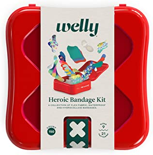Welly Heroic Kit - Bravery Badge Bandages در پارچه انعطاف پذیر ، ضد آب و هیدروکلوئید ، اشکال و الگوهای مختلف - 150 تعداد