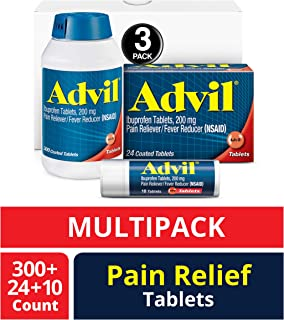 Advil (300 Count, 24 Count, 10 Count) Home & Away Pack, Pain Reliever / Fever Reducer Coated Tablet, 200mg Ibuprofen, Temporary Pain Relief