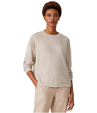 Eileen Fisher Organic Linen Cotton Crew Neck Box Top (Natural) Women