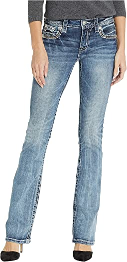 Floral Embellished Bootcut Jeans in Medium Blue