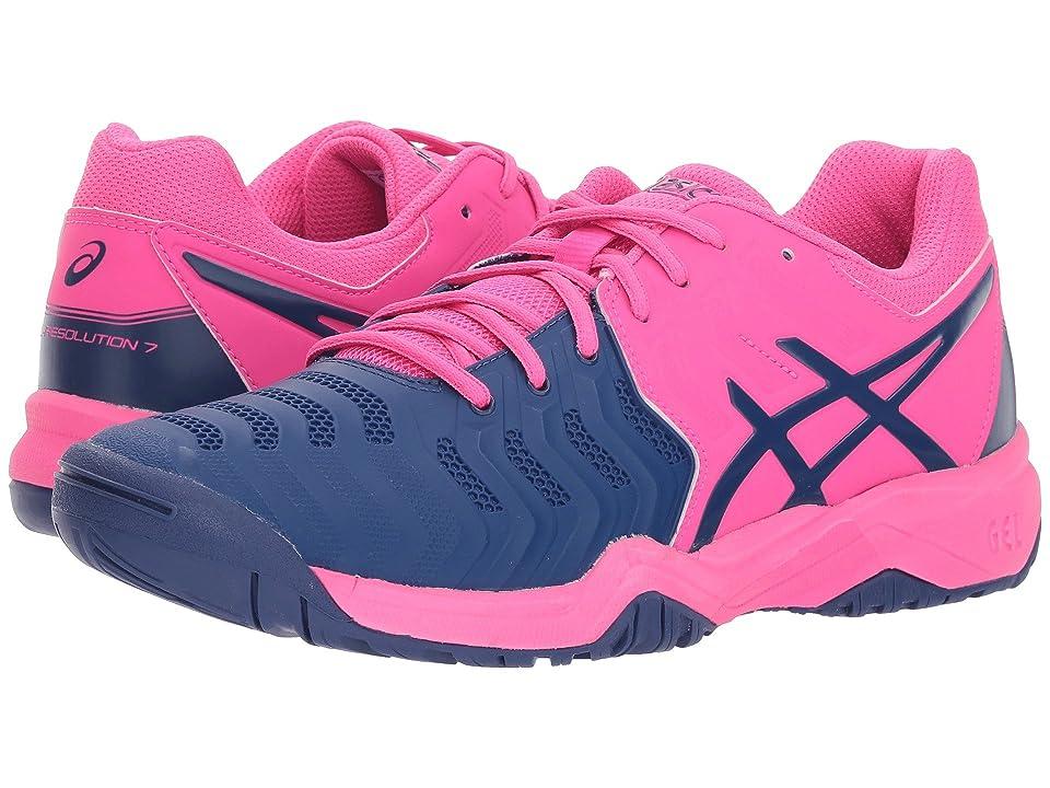 ASICS Kids GEL-Resolution(r) 7 GS Tennis (Little Kid/Big Kid) (Pink Glo/Blue Print) Girls Shoes