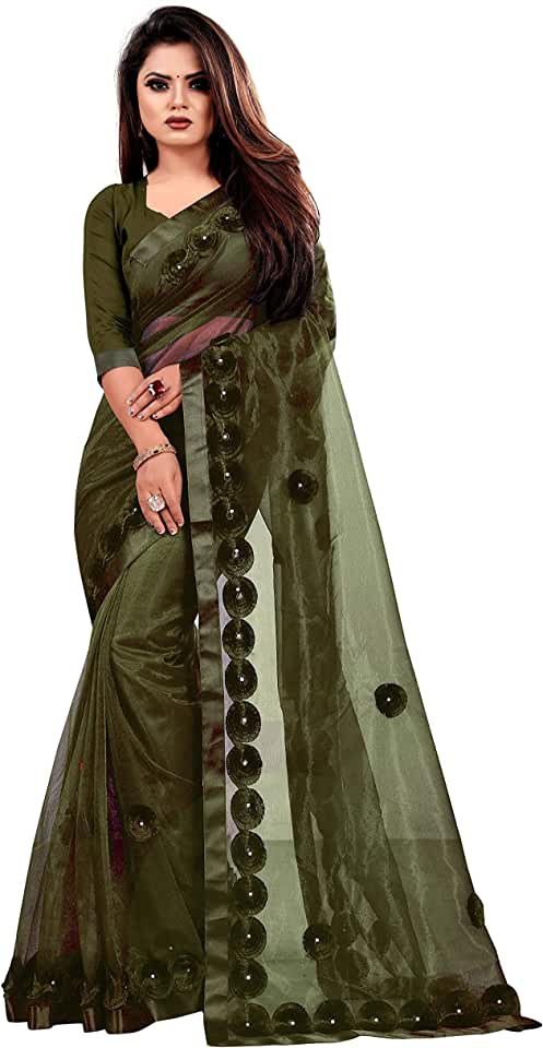 Indian Indian Youth Women's Woven Net Saree With Unstitched Blouse Piece Saree