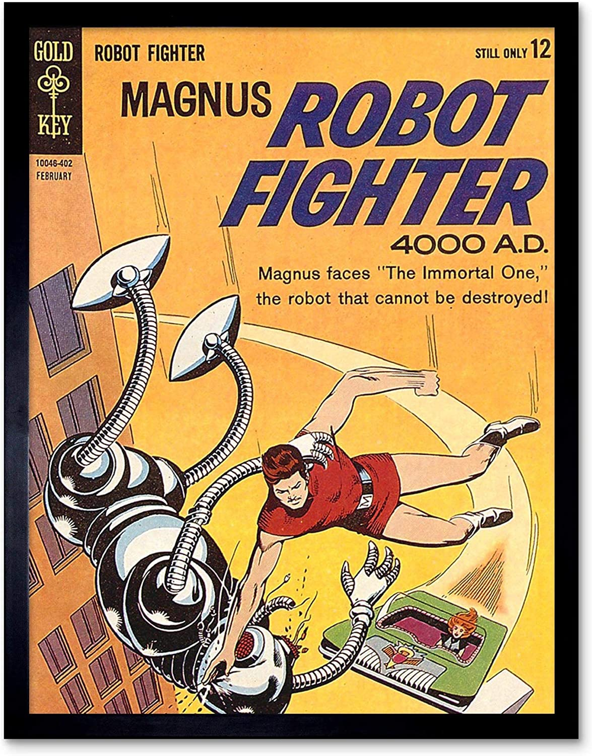 Comic Book Cover Magnus Robot Fighter Sci Fi 12X16 Inch Framed Art Print
