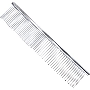 PETTOM Pet Steel Grooming Tool Poodle Finishing Butter Comb, 7 1/2-inch L