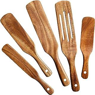 ابزار آشپزخانه Spurtles - ست چوبی اقاقیا 5 تایی - ابزار کاردک چوبی رستورانی برای پخت و پز غیر چسبنده - وسایل آشپزخانه پایدار - ابزار آشپزخانه کامل