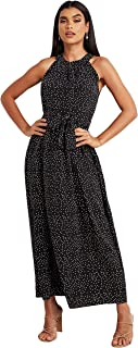 Polka Dot Printed Racer Neck A-Line Maxi Women's Dress with Tie Belt