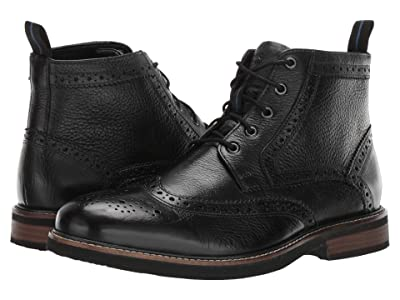 Nunn Bush Odell Wingtip Boot with KORE Walking Comfort Technology (Black Tumbled) Men