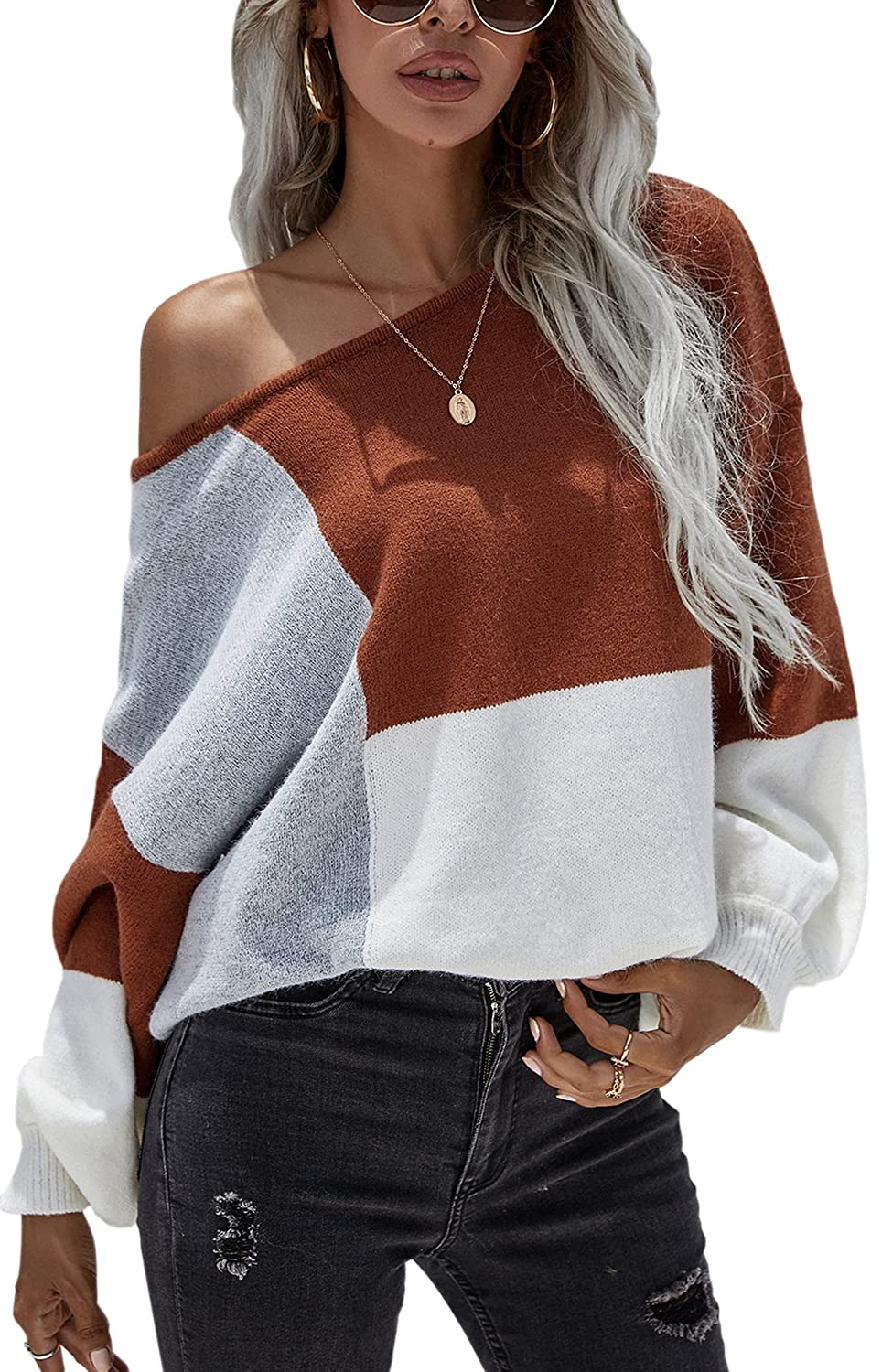 ECOWISH Women Sweater Long Sleeve Color Block Knit Pullover Sweaters Crew Neck Patchwork Casual Loose Jumper Tops