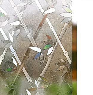 rabbitgoo Privacy Window Film Frosted Film Decorative Window Cling Anti-UV Glass Films Non-Adhesive Bamboo Films for Living Room Bedroom Kitchen Lobby Porch Office 35.4 x 78.7 inches