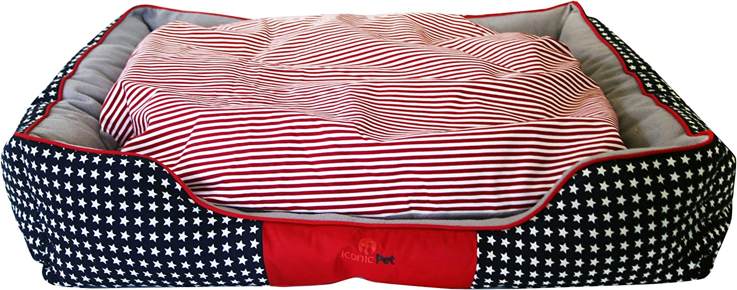 Iconic Pet 51503 Freedom Luxury Lounge BedsSmall, Red White bluee