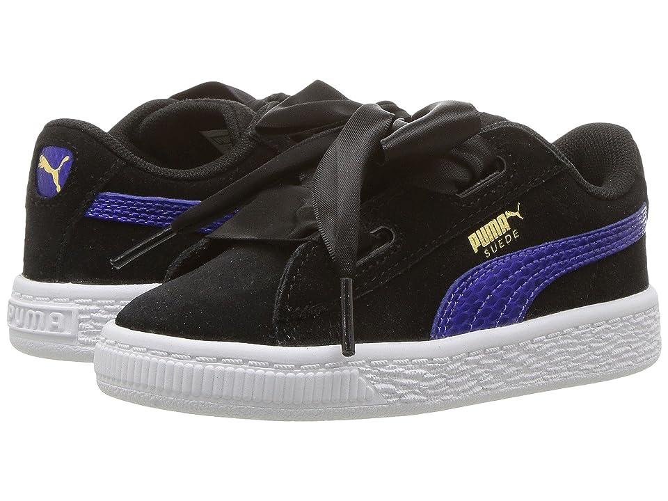 Puma Kids Suede Heart SNK (Toddler) (Puma Black/Baja Blue) Girls Shoes