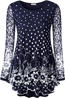 BAISHENGGT Women's O Neck A line Blouse Floral Lace Tunic Top