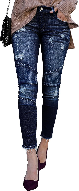 Geckatte Womens Juniors Distressed Moto Jegging Ripped Skinny Biker Jeans Ankle Denim Pants