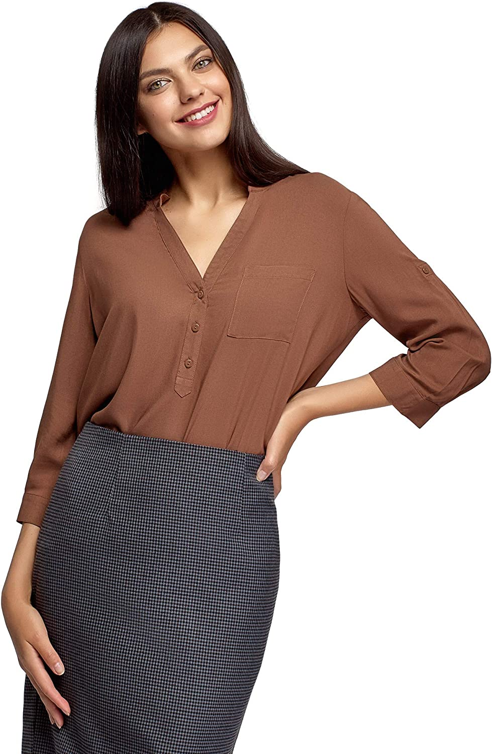 oodji Ultra Max 68% OFF Women's Viscose Blouse 4 Spring new work Adjustable Sleeves with 3