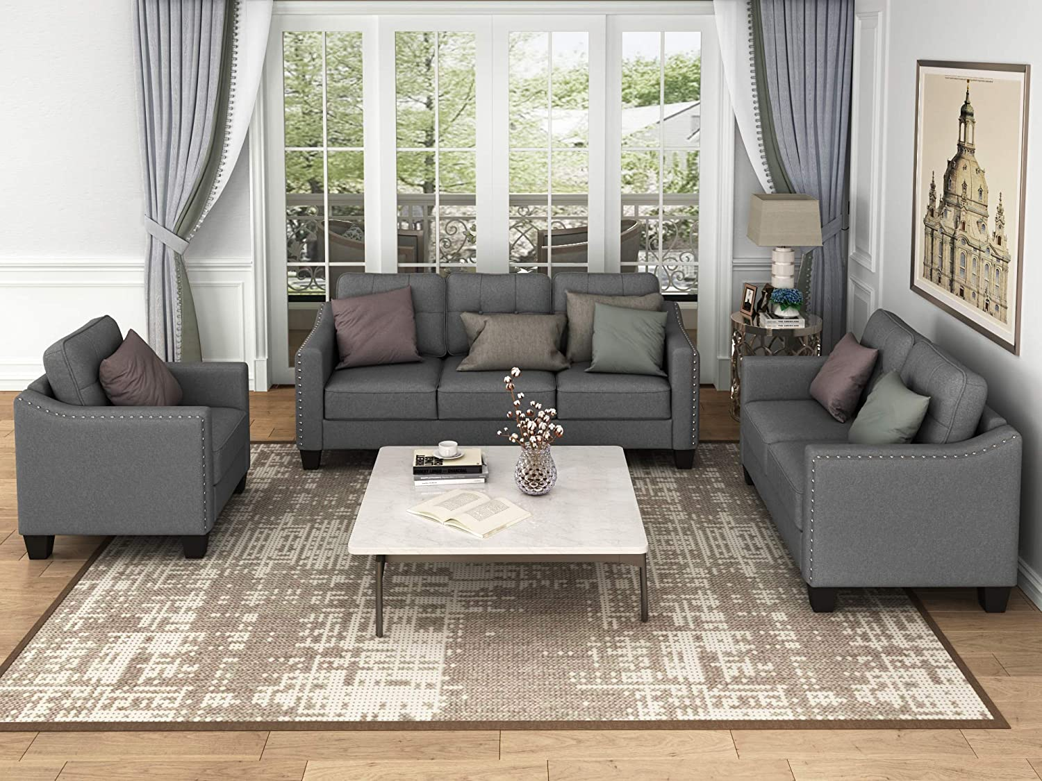 3 Piece Upholstered Sectional Sofa 2021 autumn and winter new Furniture Living Easy-to-use Set for Room