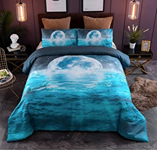 A Nice Night Galaxy Moon Blue Ocean Vivid Print Comforter Set Queen Size,Soft Brushed Microfiber Bedding Sets (Water-Ripple)
