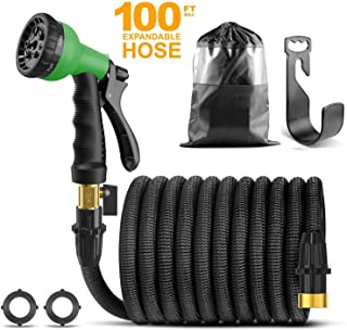 CRJUS Garden Hose 100ft Expandable Water Hose,Extra Strength Fabric - Flexible Expanding Hose with Metal 9 Function Spray Nozzle with Hose Storage Bag & Heavy Duty & One Hanger (100FT, Green)