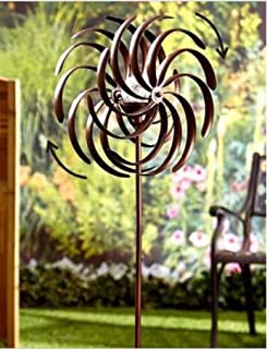USA Premium Store Weather Resistant Double Spiral Solar Lighted Garden Wind Spinner Yard Art Decor