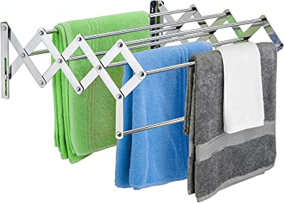 Plantex Stainless Steel Foldable Clothes Drying Rack/Cloth Stands for Drying Clothes - Wall Mount (Chrome - 24 inch)