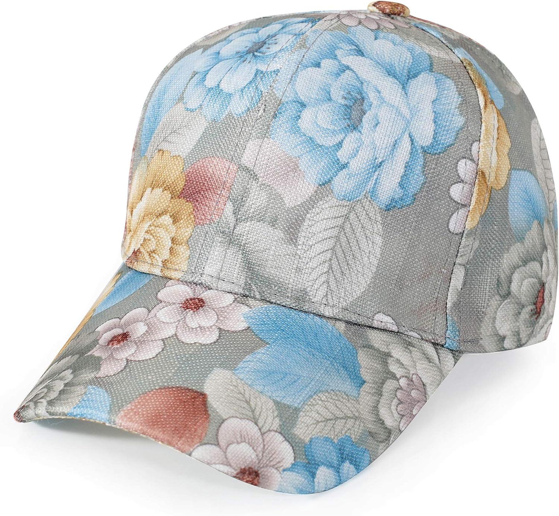 ZLYC Women Fashion Floral Print Baseball Cap Hawaiian Adjustable Snapback Dad Hat