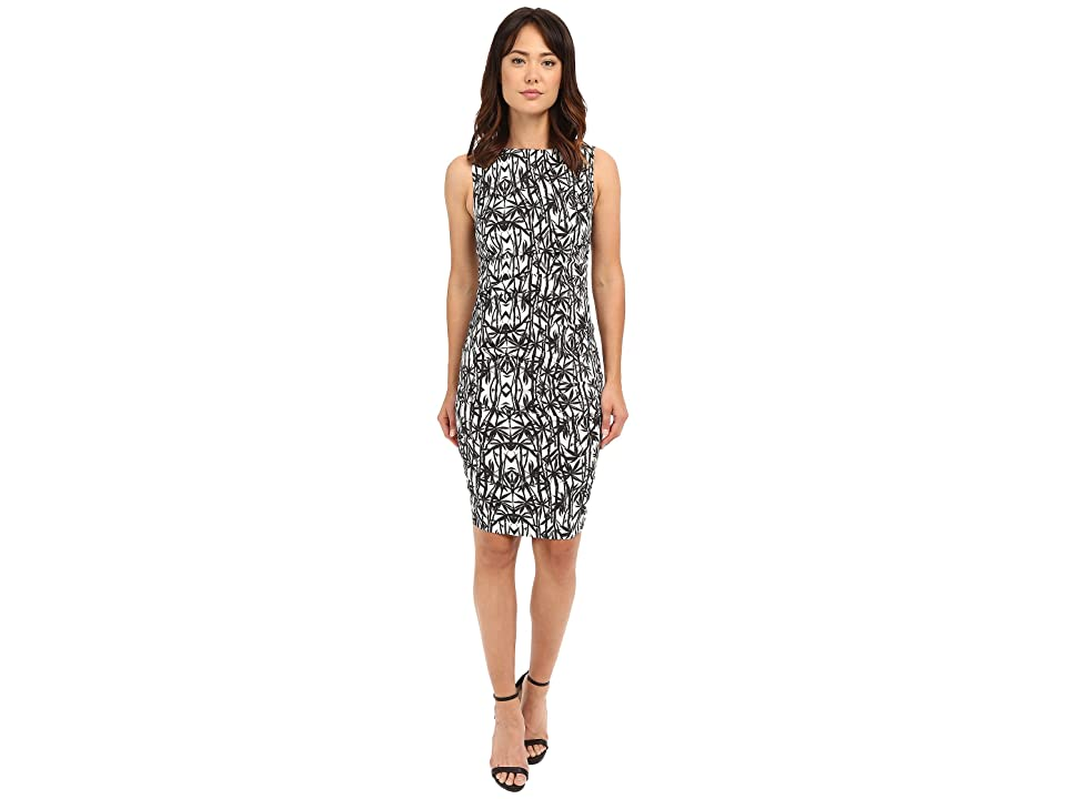 Nicole Miller Bamboozled Lauren Linen Sheath (Black/White) Women