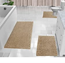 Yimobra Shaggy Chenille 3 Piece Bath Mat Set, Extra Large Bathroom Mats + Bathroom Rugs + Contour Toilet Mat, Soft and Com...