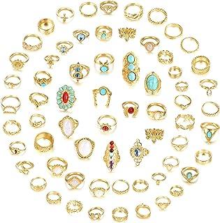 فيبو ستيل 66 قطعة خواتم المفاصل مجموعة للنساء خواتم قابلة للتكديس ميدي الإصبع خاتم خمر بوهو الحلقات المشتركة