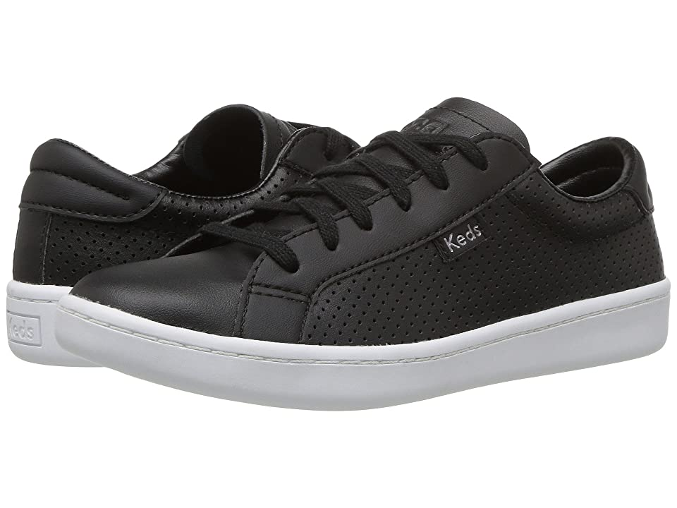Keds Kids Ace (Little Kid/Big Kid) (Black Perf Leather) Girl