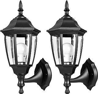 لامپ روشنایی و روشنایی دیوار نور EMART در فضای باز، لنز خارجی دیوار نور، دستگیره ویژه ضد خوردگی مواد پلاستیکی، لامپ ضد آب ضد آب برای دیوار، گاراژ، درب جلو - 2 بسته