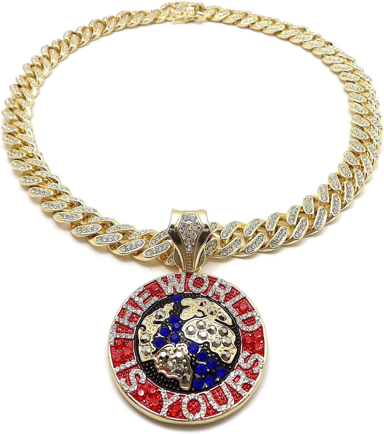 BLINGFACTORY Hip Hop The World is Yours Pendant & 12mm 18