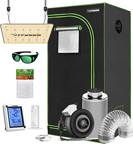 """lowest VIVOSUN Grow Tent Complete Kit, 24""""x24""""x36"""" Growing Tent with VS1000 Led Grow Light 4 Inch 203 CFM Inline discount Fan Carbon Filter and 8ft Ducting sale Combo online sale"""
