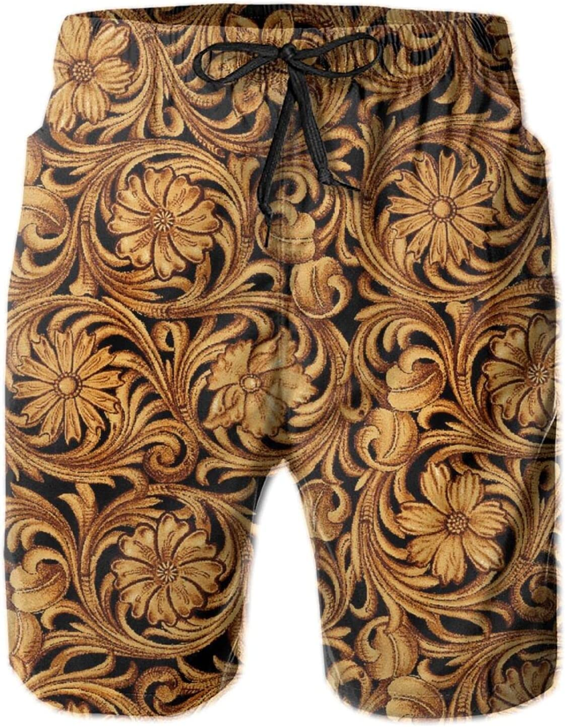 Western Country Flower Damask Mens 3D Printed Swim Trunks Quick Dry Summer Surf Board Shorts Swimwear Pants