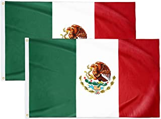 Best DANF 2 Pack Mexico Flag 3x5 Ft - 100D Thicker Polyester - Mexican MX National Flags Double Stitched Quality 3 X 5 Feet with Brass Grommets Indoor & Outdoor Use Review