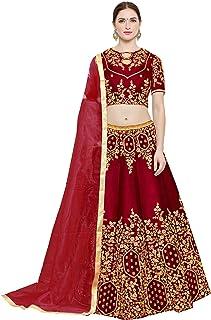0c5075f1b9 FREE Delivery by Amazon. KEDARFAB Women's Embroidered Bangalore Silk Lehenga  Choli with Blouse Piece (Red,Free Size)
