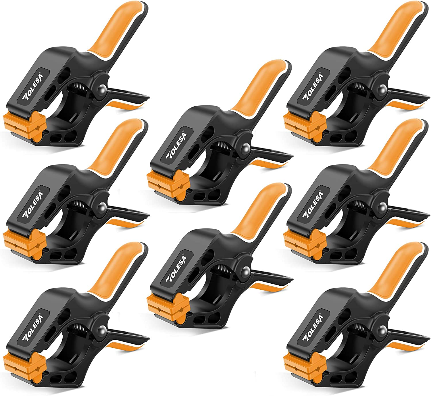 TOLESA 4-Inch Spring Clamps Powerful Force 8-Piece Nylon Clamp w