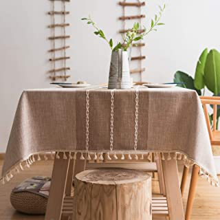 fiercewolf Linen Rectangle Tablecloth Tassel Table Cloth Heavy Weight Cotton Fabric Dust-Proof Table Cover for Kitchen Dinning, Rectangle/Oblong, 55 x 70 Inch, Linen