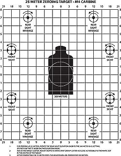 PlusTactical M4 Carbine 25 Meter Zeroing Target on EZ Peel Notepad