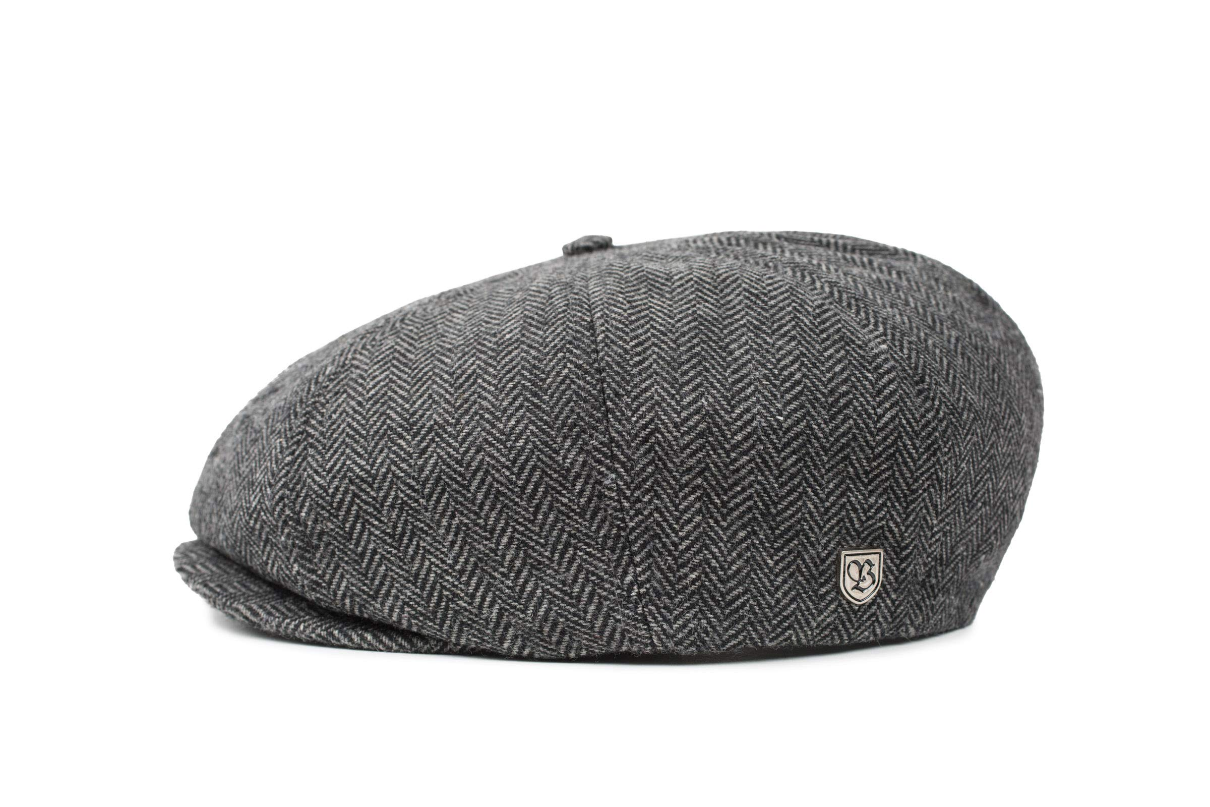 Brixton Brood Newsboy black herringbone