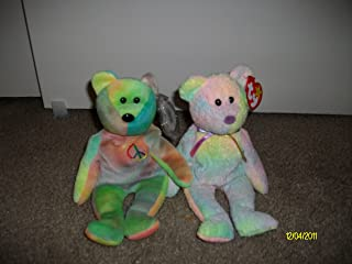 Set of 2 Tie Dyed Bear Beanie Baby's-Groovy and Peace