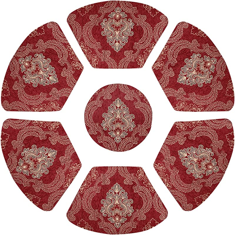 Grelucgo Set Of 7 Wedge Placemats And Centerpieces Set For Round Tables Cranberry