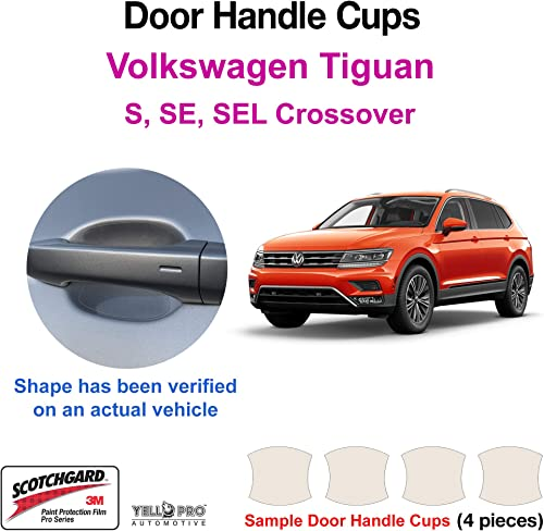 lowest YelloPro Custom Fit Door Handle Cup 3M Scotchgard Anti Scratch Clear outlet sale Bra Paint Protector Film Cover Self Healing PPF Guard Kit for 2018 2019 2020 online sale 2021 2022 Volkswagen Tiguan S, SE, SEL, Crossover outlet online sale