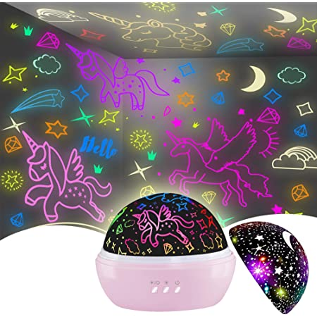 Night Light for Kids,Unicorn Night Light&Star Projector Gifts for Kids Toddlers,Night Light Projector for Baby,Unicorn Lamp 16 Colors Rotating Ceiling Unicorn Lights for Girls Bedroom
