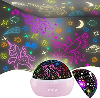 Night Light for Kids,Unicorn Night Light&Star Projector Gifts for Kids Toddlers, Toys for 3-8 Years Old Girls,Baby Nursery...