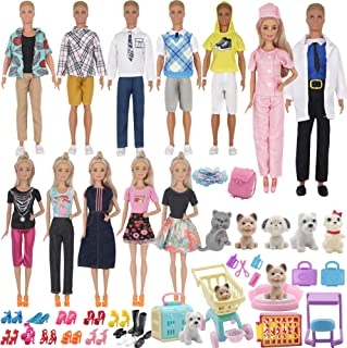 ZTWEDEN 85Pcs Doll Clothes and Accessories for 12 Inch Boy Dolls and Girl Dolls Pet Care Set Includes 25 Wear Clothes Shir...