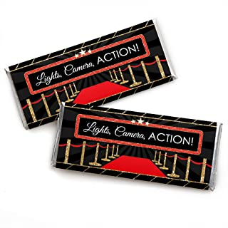 Red Carpet Hollywood - Candy Bar Wrapper Movie Night Party Favors - Set of 24