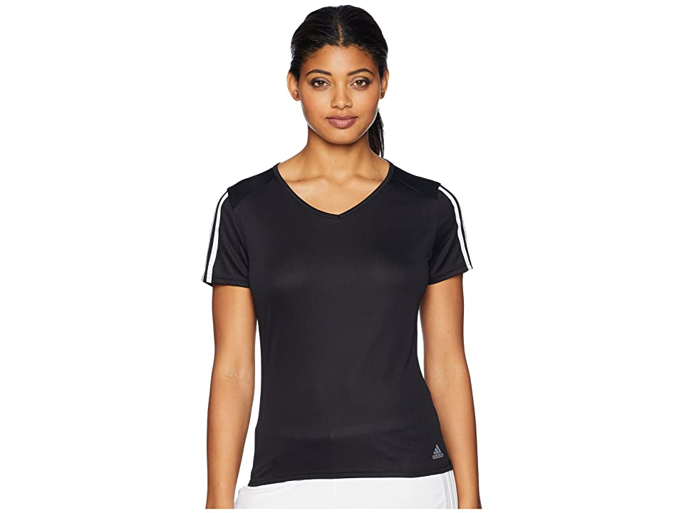 adidas 3-Stripes Run Tee (Black/White) Women